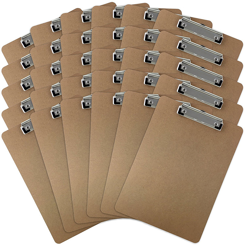 Factory direct cheap wholesale custom CLIPTEK wooden Clipboards Low Profile Clip, Hardboard, 9 x 12.5 Inches (30 PACK)