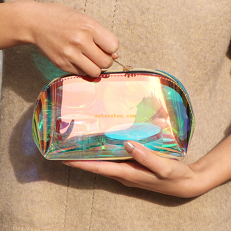 High quality custom girls beauty transparent travel toiletry bags laser holographic clear PVC cosmetic pouch