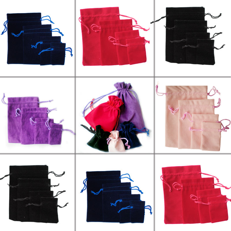 Special design cheap price custom colorful velvet drawstring pouches bags gift pouches velvet lined gift cord box for jewel