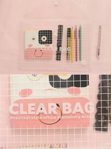 Great quality cheap promotional custom multicolor clear pp plastic button document envelopes snap stationery file bags