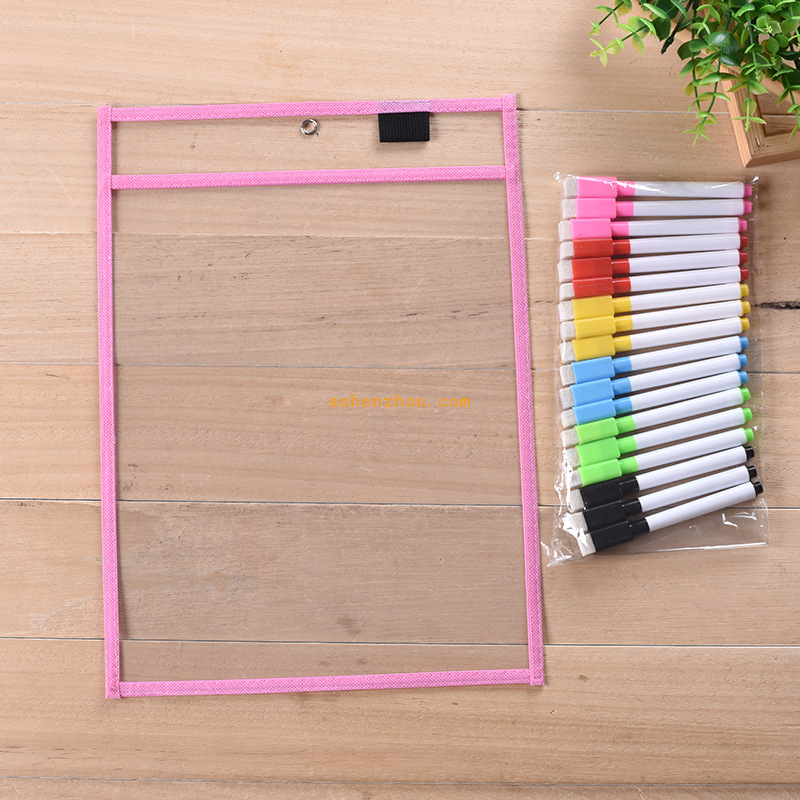 Useful and fashional custom portable dry eraser pockets wholesale reusable dry erase pockets
