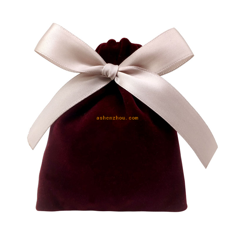 Fashion high quality custom printed soft velvet drawstring gift bag velour pouch for jewelry