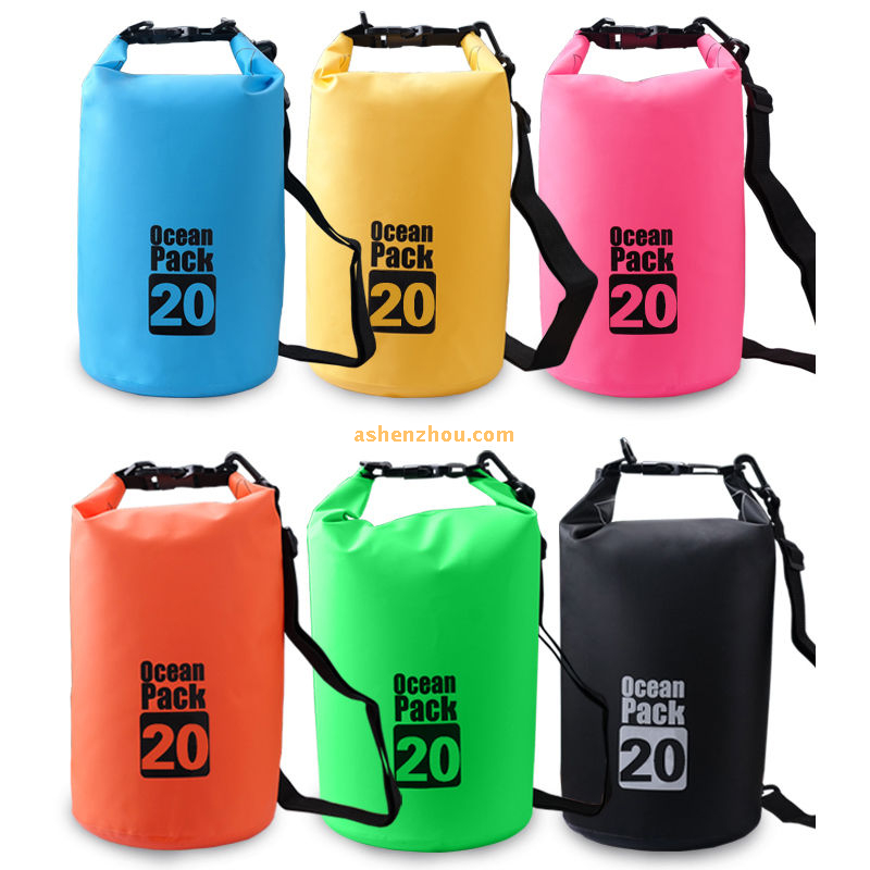 PVC ocean pack waterproof dry bag roll top dry compression sack keeps gear dry for kayaking, rafting, boating, camping, beach, fishing 2L- 30L