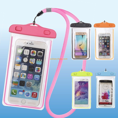 Waterproof smartphone case night light underwater phone pouch diving bag for phone iPhone Samsung Huawei