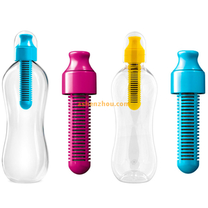 Lime filter bobble water bottle with carry cap, blue, medium, 550ml, BPA Free